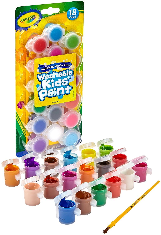 Crayola Washable Kids Paint Set & Paintbrush, Painting Supplies, 18 Count