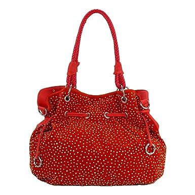 4eacb8e3de503 ROSENROT Glitzer Handtasche Shopper Beutelform Strass Nieten - Neue  Kollektion (Rot)