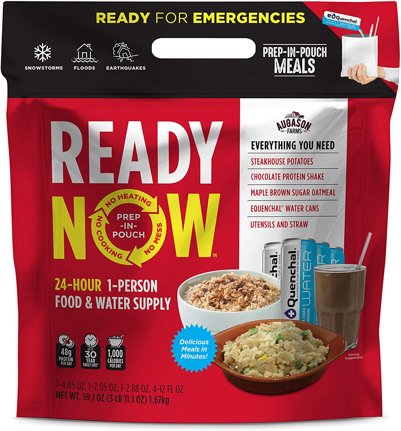 Augason Farms Ready Now Emergency Food Supply with Steakhouse Potatoes | Includes Emergency Water and Utensils | Prep-in-Pouch Meals | Camping Mess Kit | 25-Year Shelf Life