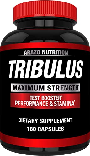 Tribulus Terrestris Extract Powder – Testosterone Booster with Estrogen Blocker – Arazo Nutrition USA – 180 Capsules