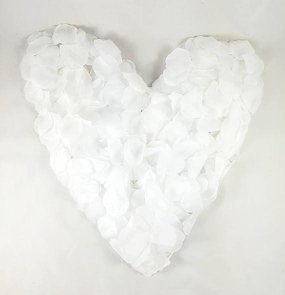 500 weiße Rosenblätter, Stoff, reinweiß - Hochzeitsdeko, Taufe, Kommunion, Konfirmation, Valentinstag, Heiratsantrag, Streude