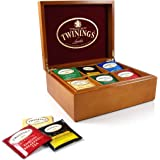 Twinings 6 Compartment Wood Tea Box Filled with 50 Hand Selected Tea Bags