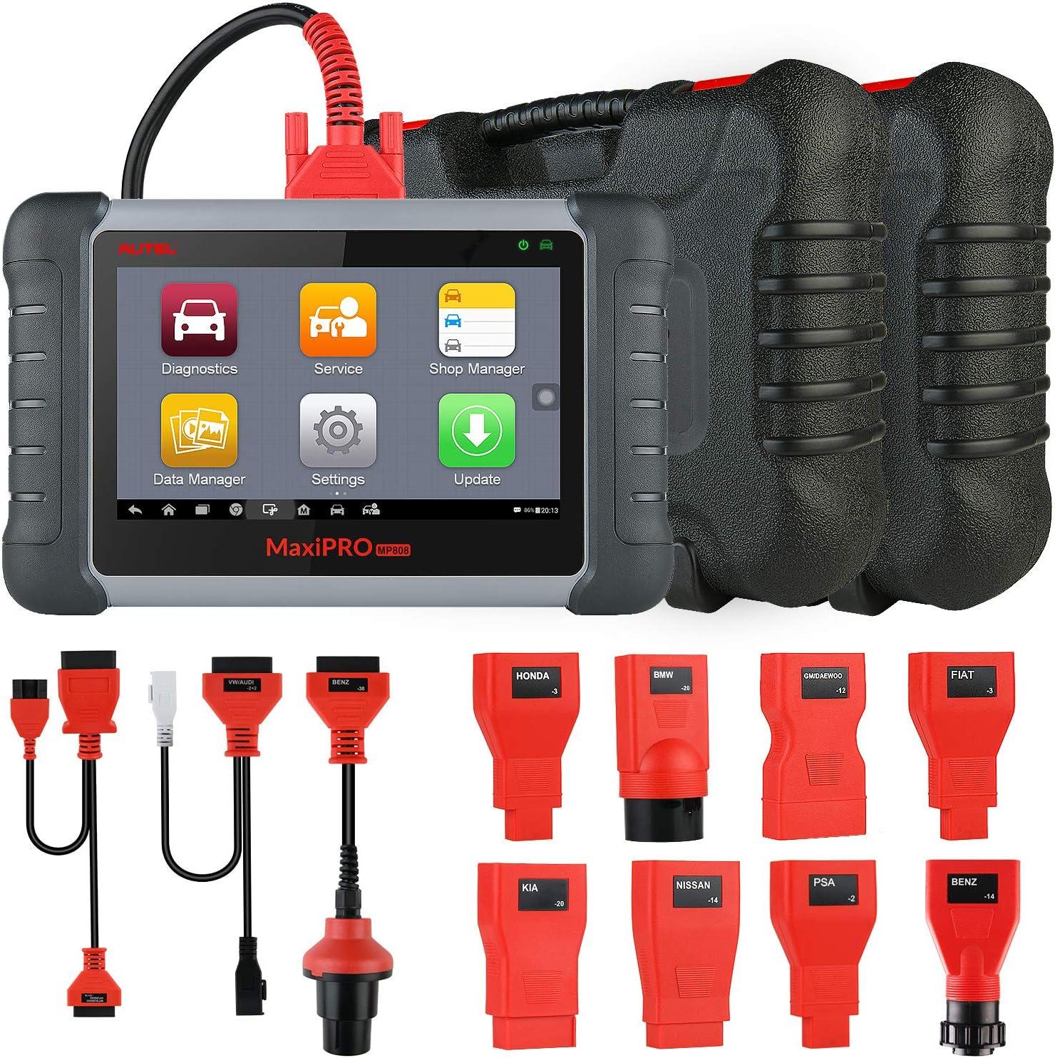 Autel MaxiPRO MP808K OBD2 Diagnósticos Coche Herramienta de Escáner(Diagnóstico de Nivel OE) 23 Servicios, Control Bidireccional/Prueba Activa/Codificación de Claves/AutoVIN, Avanzado de DS808, MP808