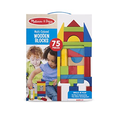 Melissa & Doug Multi Colored Wooden Blocks (75 pc.): Toys & Games