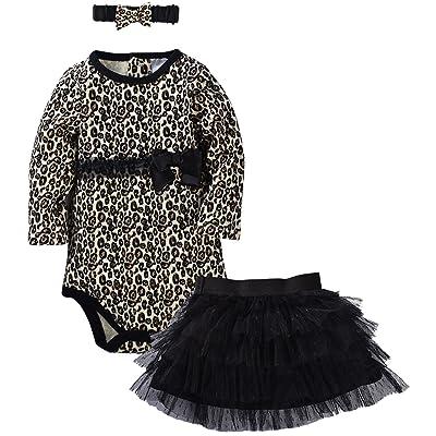 ZOEREA 3 Pièce Bébé fille Body Manche Longue Jupe Couvre-chef Robe Combinaison Costume de baptême costume bébé (0-24m)