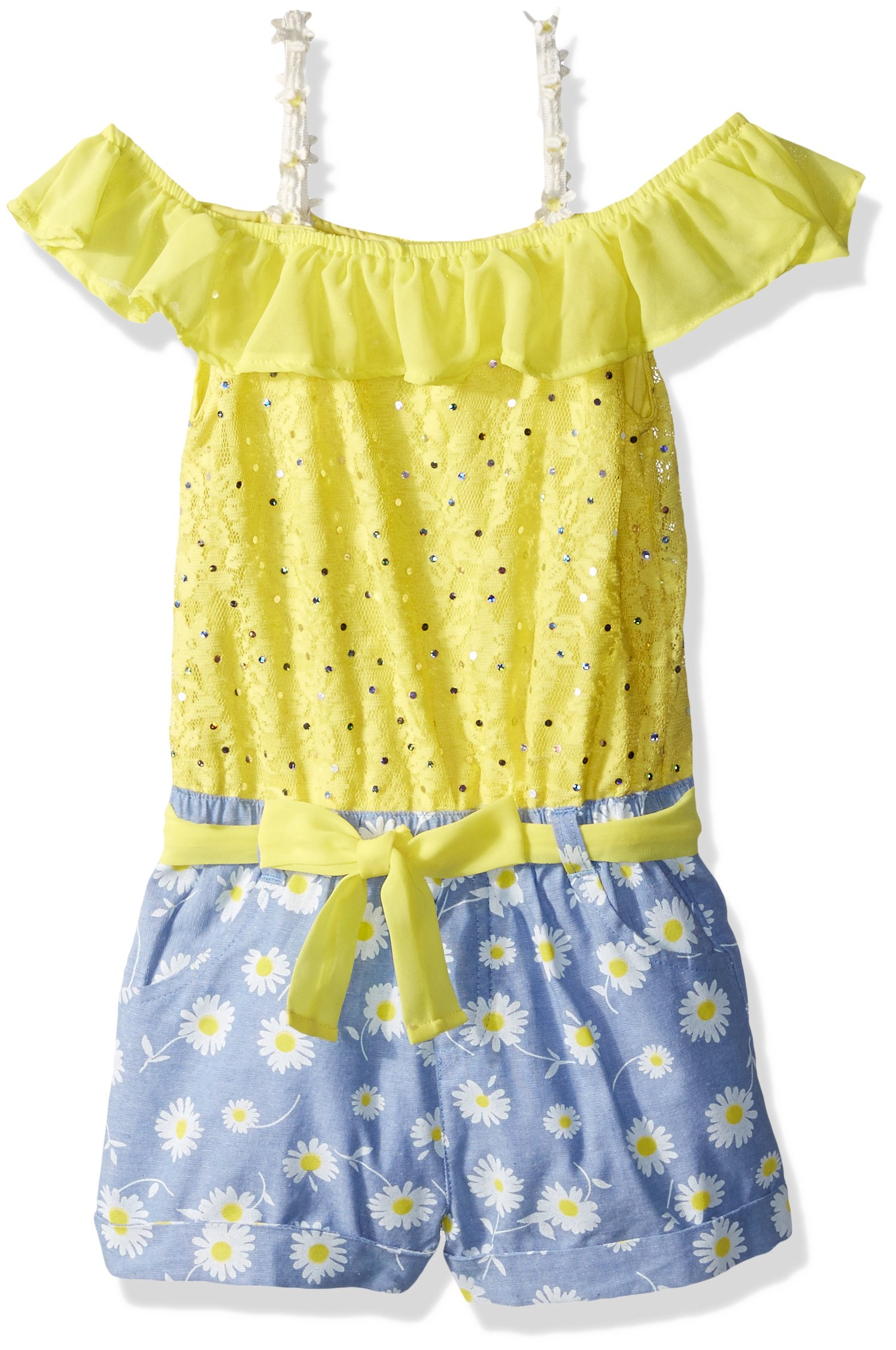 Little Lass Little Girls' 1 Pc Belted Daisy Romper, Yellow, 5