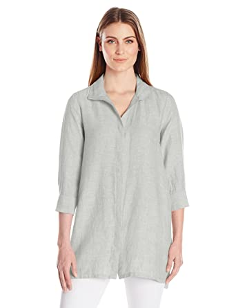 f157e3e0e4a Foxcroft Women s 3 4 Sleeve Skye Chambray Linen Tunic at Amazon Women s  Clothing store