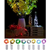 Pack of 8 LED Fairy String Lights 20 Micro Starry Moon Lights On Copper Extra Thin Silver Wire 2 x CR2032 Battery Included 7.2ft For DIY Wedding Centerpiece or Table Decorations-8 Colors