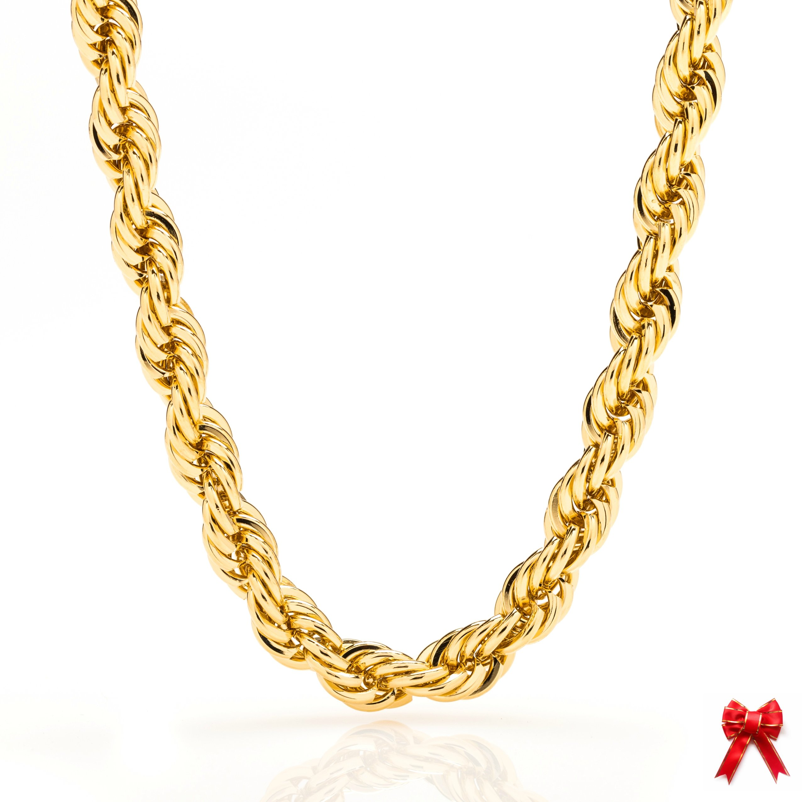 Lifetime Jewelry Rope Chain 7MM, 24K Diamond Cut Fashion Jewelry Necklaces in Yellow or White Gold Over Semi Precious Metals, Hip Hop or Classic, Comes with Box or Pouch, 24 Inches