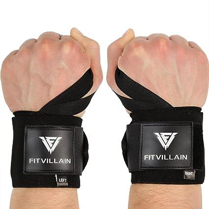 FITVILLAIN Muñequeras de Crossfit para Levantamiento de Pesas - Wrist Wraps - Gimnasio Power Lifting Kettlebell