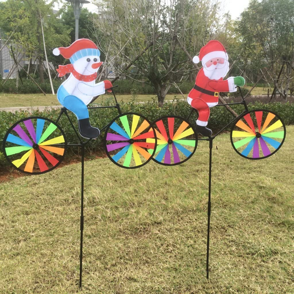 3D Large Santa Claus//Snowman Riding Bike Windmill,Bright Colors,Easy To Install and Rotate,Can Use for Home,Garden and Yard Decoration,kid Toys