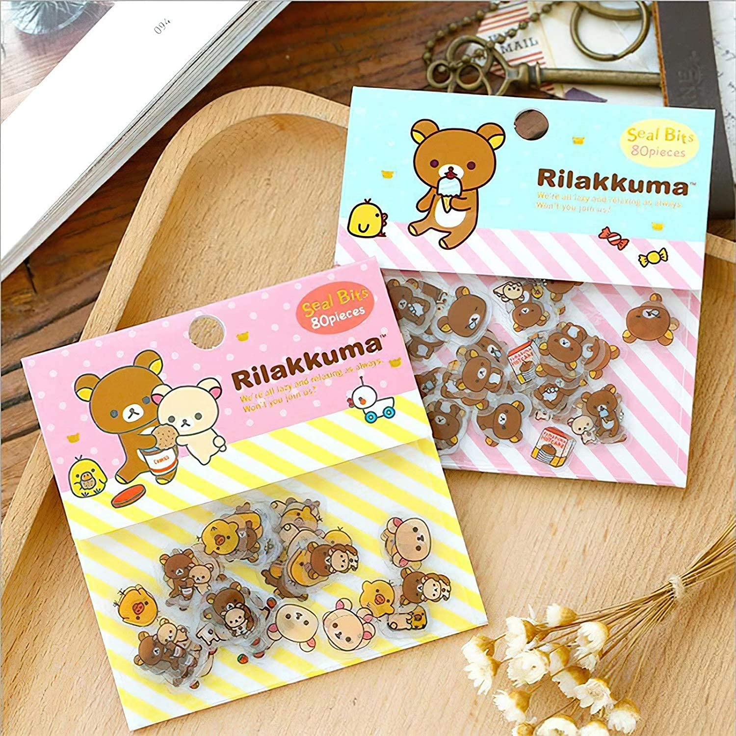 80 Pcs/lot Cute Rilakkuma Mini Paper Sticker Bag DIY Diary Planner Decoration Sticker Album Scrapbooking Kawaii Stationery