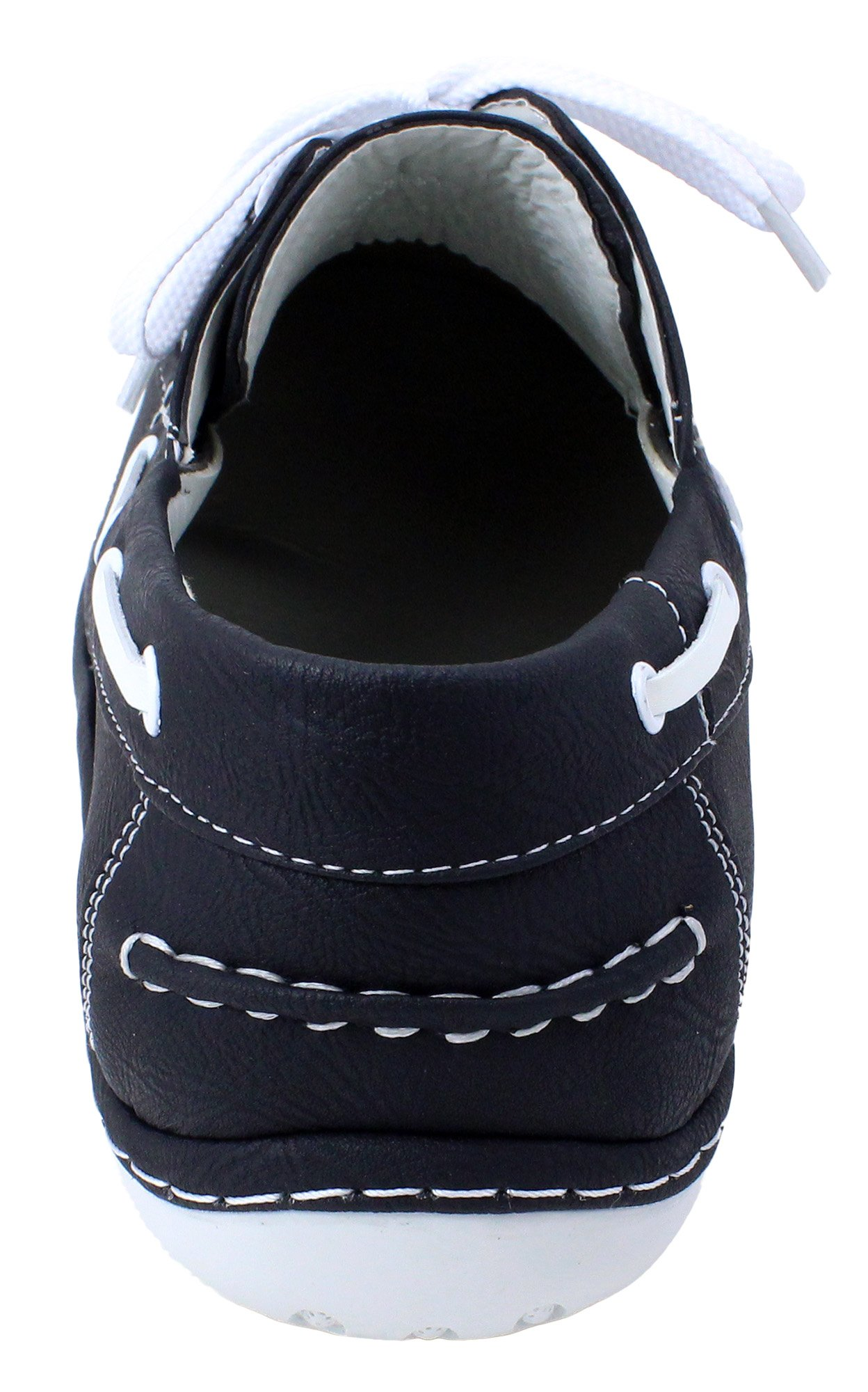 Enimay Men's Free Slip-On Loafer Boat Shoe PU Leather Fine Crafted Lounge Black White 8.5 by Enimay (Image #3)