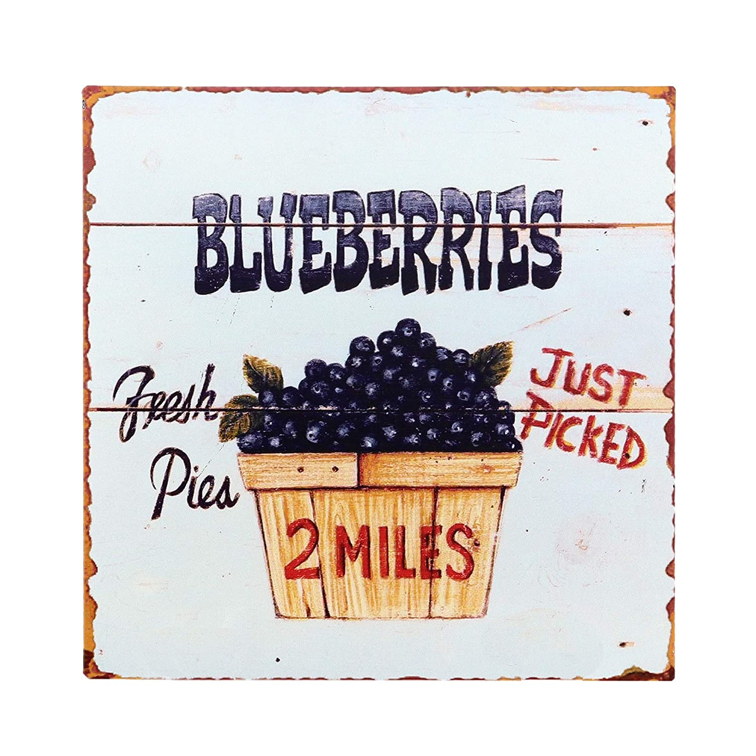 "Barnyard Designs Fresh Picked Blueberries Retro Vintage Tin Bar Sign Country Home Decor 11"" x 11"""