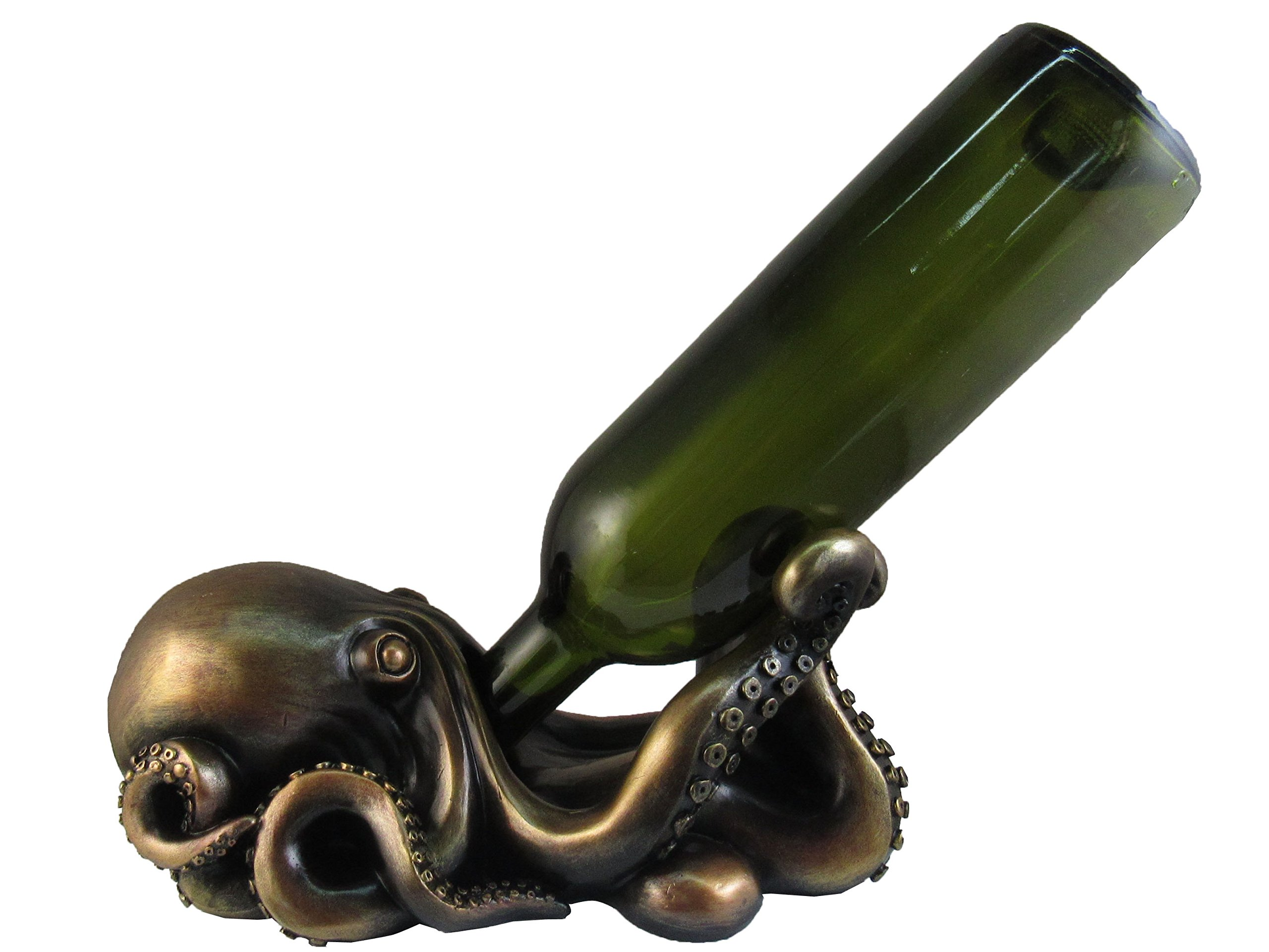 DWK Thirsty Octopus Drinking Wine Bottle Holder By Nautical Bronze Statue Steampunk Figurines Ocean Home Decor And Gifts