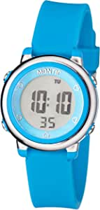 Kids Digital Watch in Blue Plastic Case and Rubber Strap, Casual Children Watch Multi Function with Alarm and Stopwatch Water Resistant Sport Watch by Montic