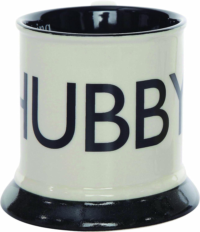Creative Co-Op Black and White Stoneware Hubby Mug