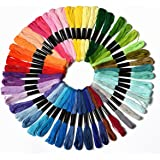 50 Skeins Embroidery Floss Mega Pack embroidery thread Approx 8m per skein Various Colors 100% mercerized Cotton (Color 1)