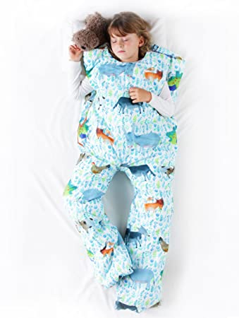 Norkid ORIGINAL. Sacos de dormir infantiles con piernas. Talla 5 años. Relleno FINO, Modelo GRANJA.