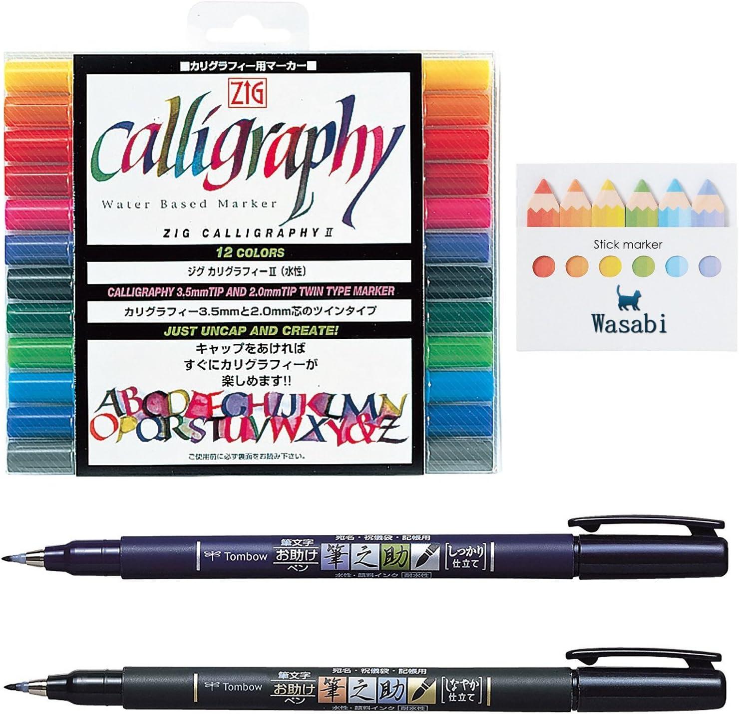 Tipo de punta de pincel Tombow Fudenosuke, duro & suave tipo + Kuretake Caligrafía Bolígrafo – 12 Color Set cartucho