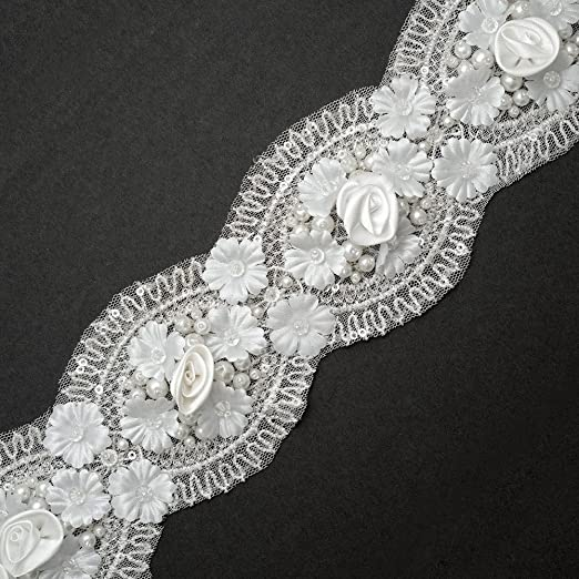 2 yards Gold Silver Metallic Glitter Thread Embroidery Lace dress Ribbon