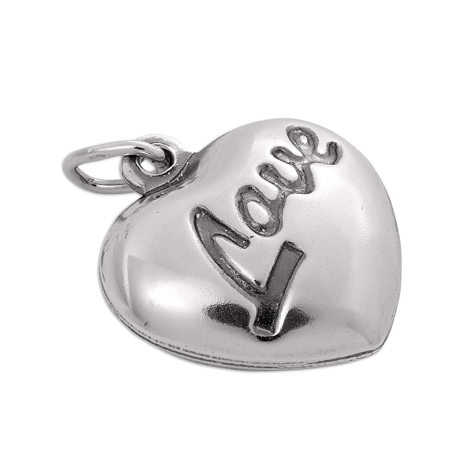 Sterling Silver Puffed Love Heart Charm