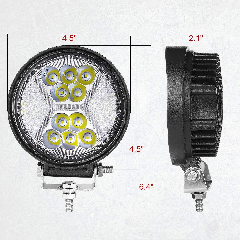 Teochew-LED 2Pcs 108W CREE 4.5 Inch LED Light Pods Spot Flood Combo Lights Off Road Driving Lights with DRL Fog Lights LED Work Lights for Truck Car Tractor Pickup ATV UTV Round LED Pods