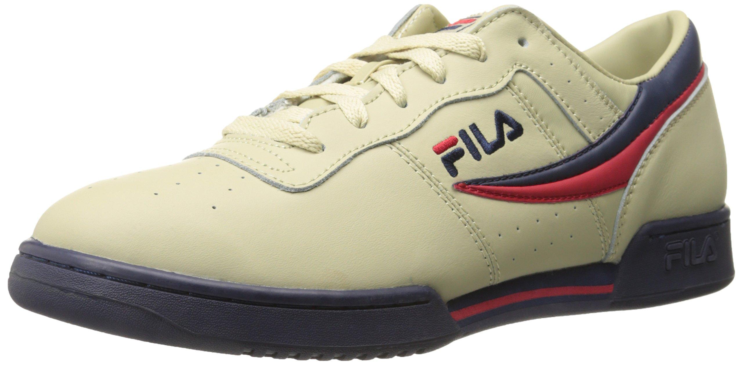 Fila Men's Original Fitness Fashion Sneaker, Cream/Peacoat Red, 8 M US