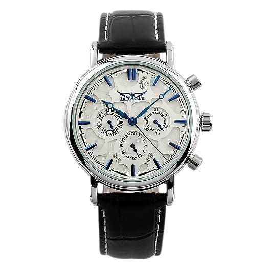 Correa Cuero Diseño Cristal Caja Plata Blancos Automático Los Hombres Mecánicos del Reloj: Amazon.es: Relojes