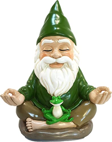 GlitZGlam Zen Gnome Tranquility and Peacefulness for Your Fairy Garden and Garden Gnomes 9 Inches Tall Miniature Figurine
