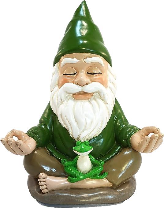 Gnomo Zen – Paz y Tranquilidad para tu Jardín de Hadas y Jardín de Gnomos de GlistZGlam. 22.86cm de Alto. Estatuilla en Miniatura: Amazon.es: Jardín