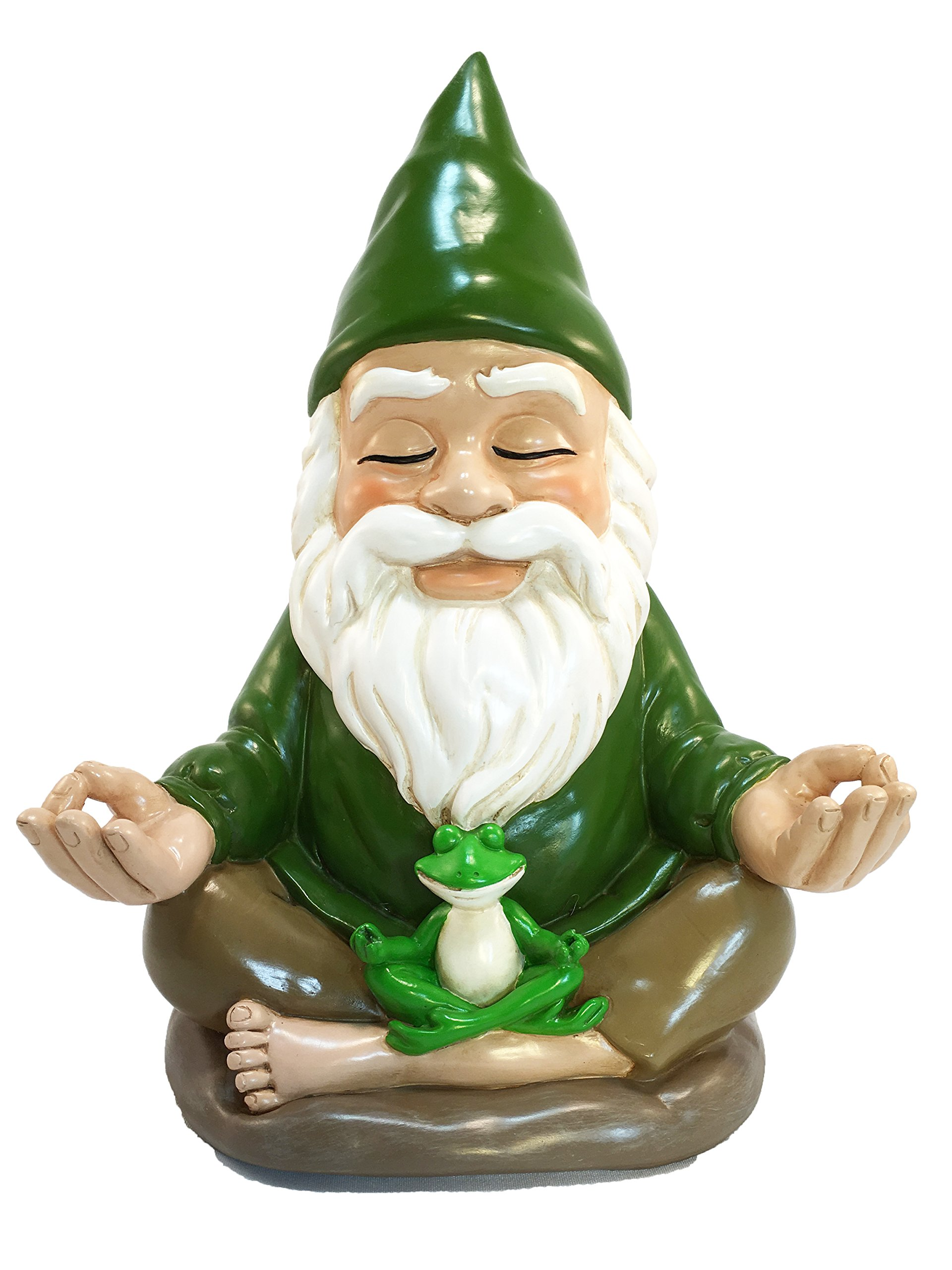 GlitZGlam Zen Gnome - Tranquility and Peacefulness for Your Fairy Garden and Garden Gnomes 9 Inches Tall Miniature Figurine