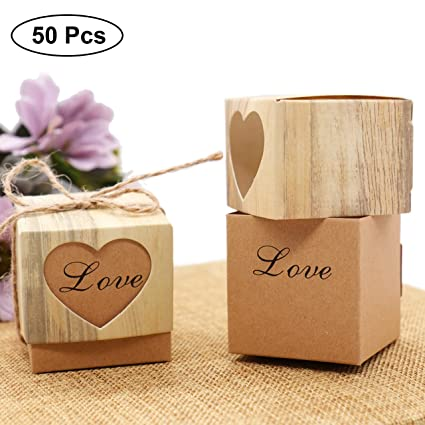 Pack of 12 Purple Heart Lift off Lid Wedding Favour Boxes Home, Furniture & DIY Wedding Supplies