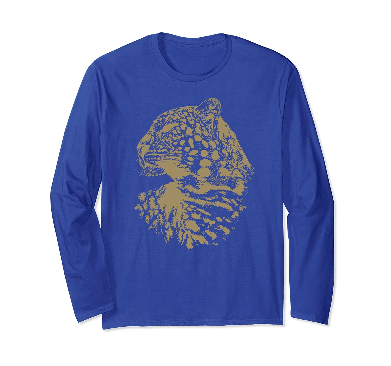 Beautiful Cheetah Silhouette Graphic Art Long Sleeve T-Shirt-ln