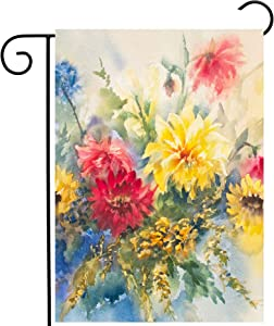 Pickako Seasonal Watercolor Summer Spring Floral Flowers Colorful Dahlias Garden Yard Flag 12 x 18 Inch, Double Sided Outdoor Decorative Welcome Flags Banners for Home House Lawn Patio
