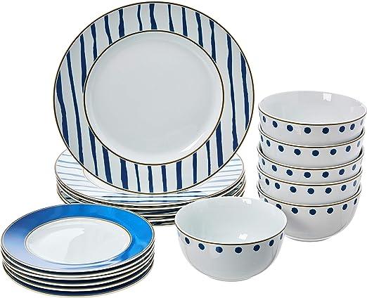 Amazon Com Amazonbasics 18 Piece Kitchen Dinnerware Set Plates