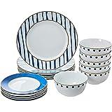 AmazonBasics 18-Piece Kitchen Dinnerware Set, Plates, Dishes, Bowls, Service for 6, Blue Accent