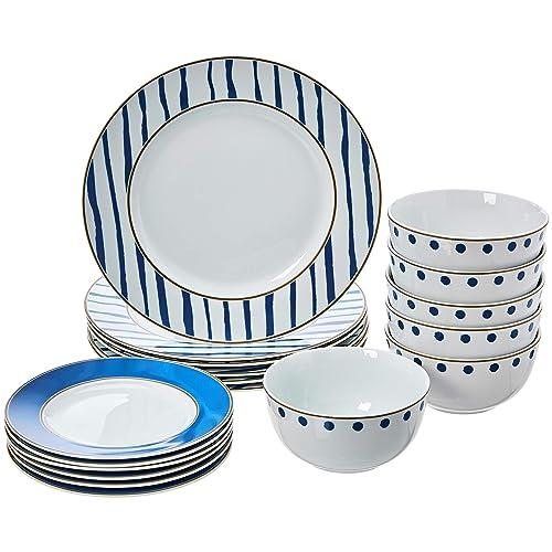 AmazonBasics 18-Piece Kitchen Porcelain Dinnerware Set, Dishes, Bowls, Service for 6, Blue Accent