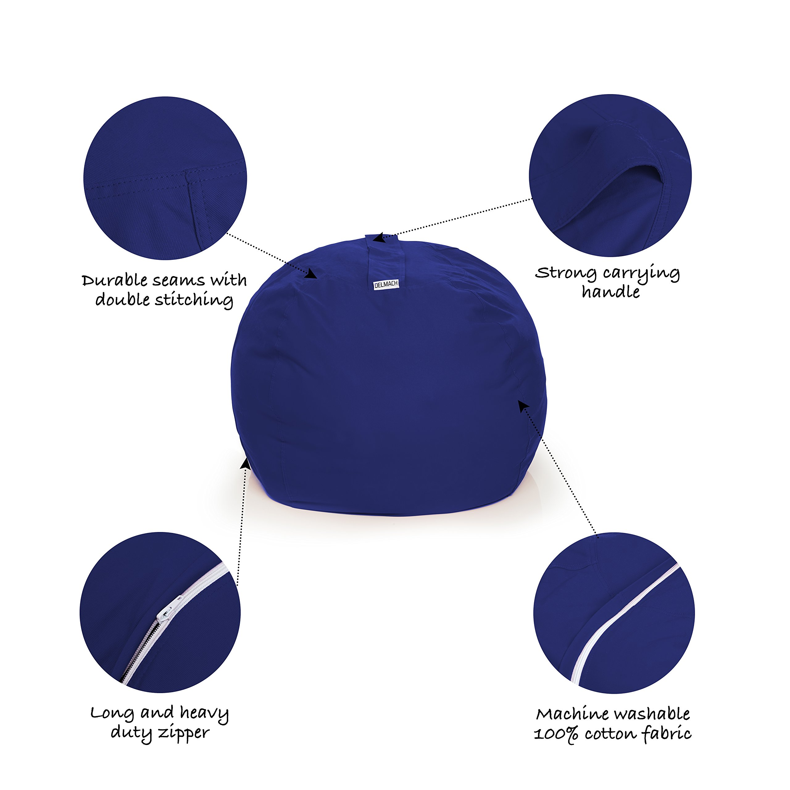 Delmach Stuffed Animal Storage Bean Bag Chair | 38'' Width Extra Large | Premium Double Stitched Cotton Canvas | Kids Blue Bean Bag Cover by Delmach (Image #5)