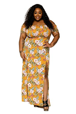 35b36e03e1c8 Hadari Women s Plus Size Sexy Off Shoulder Side Slit Floral Maxi Dress -  Yellow - 3X