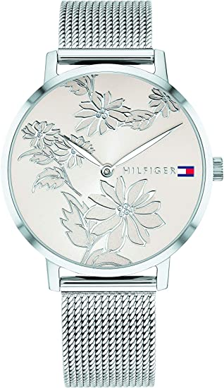 Tommy Hilfiger Women's Stainless Steel Quartz Watch with Stainless-Steel Strap, Silver, 16 (Model: 1781920)