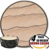 Coasters For Drinks in Iron Holder - 4 Pack, Protect Furniture From Excess Condensation & Scratch - Absorbent Sandstone inside Good Grips Detachable Cover Tray, Better Than Stone With Cork Backing