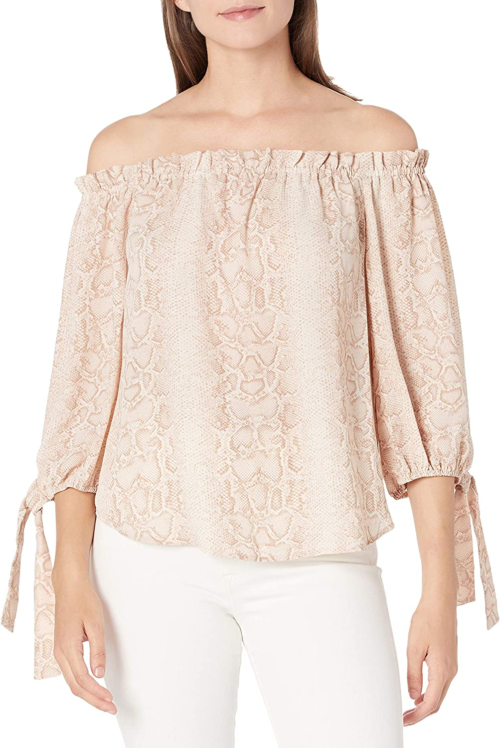 BCBGMAXAZRIA Womens Python Off-Shoulder Blouse