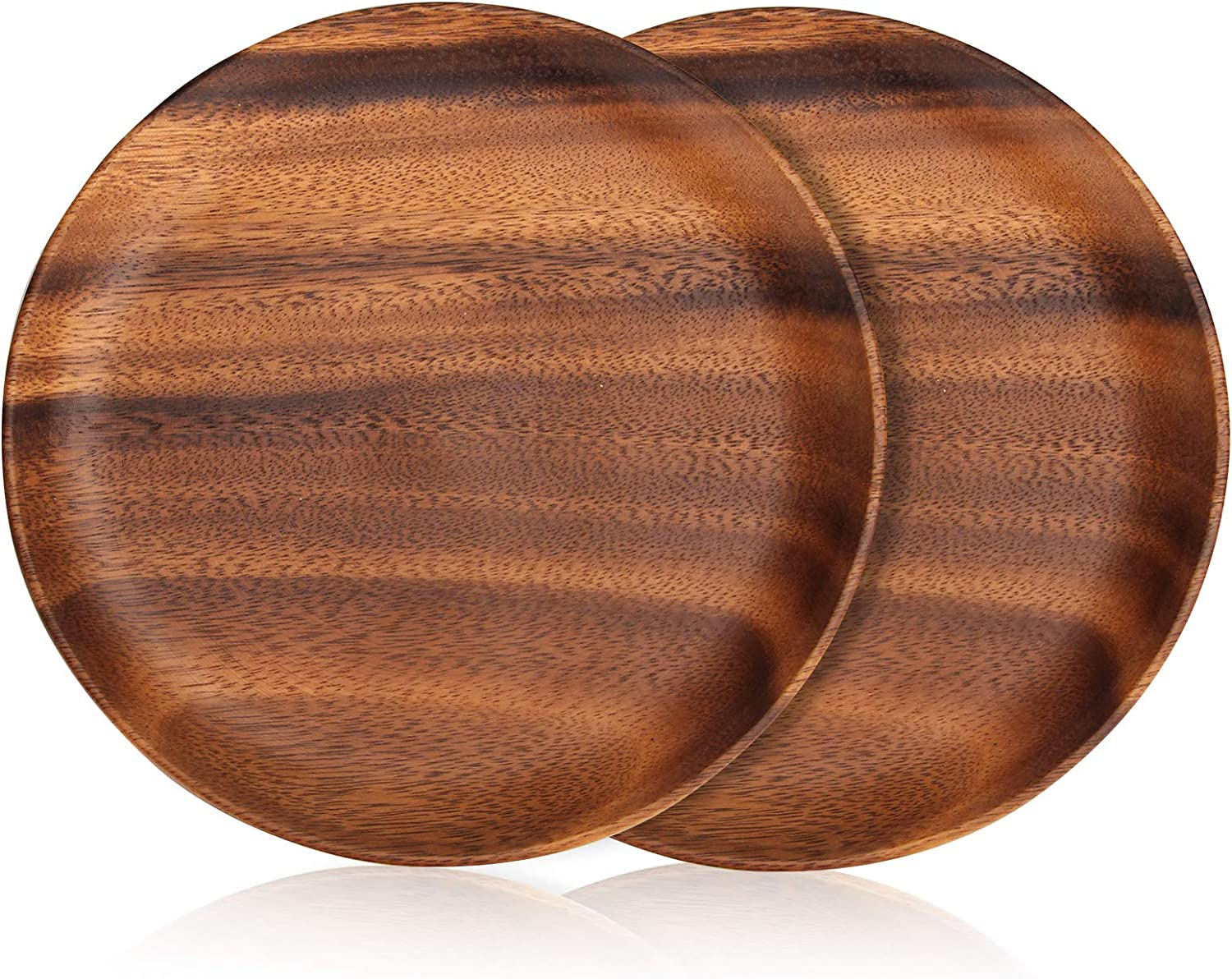 Set of 2 Luxury Acacia Wood Round Dinner Plates 10 Inch, Sandwich Cookie Wooden Serving Platter for Food Dessert Salad Plate Small Fruit Tray