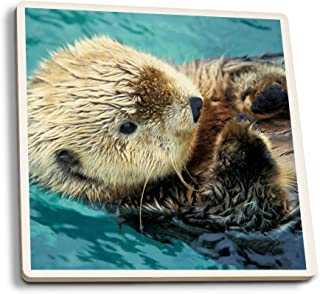 product image for Sea Otter Up Close (Set of 4 Ceramic Coasters - Cork-Backed, Absorbent)