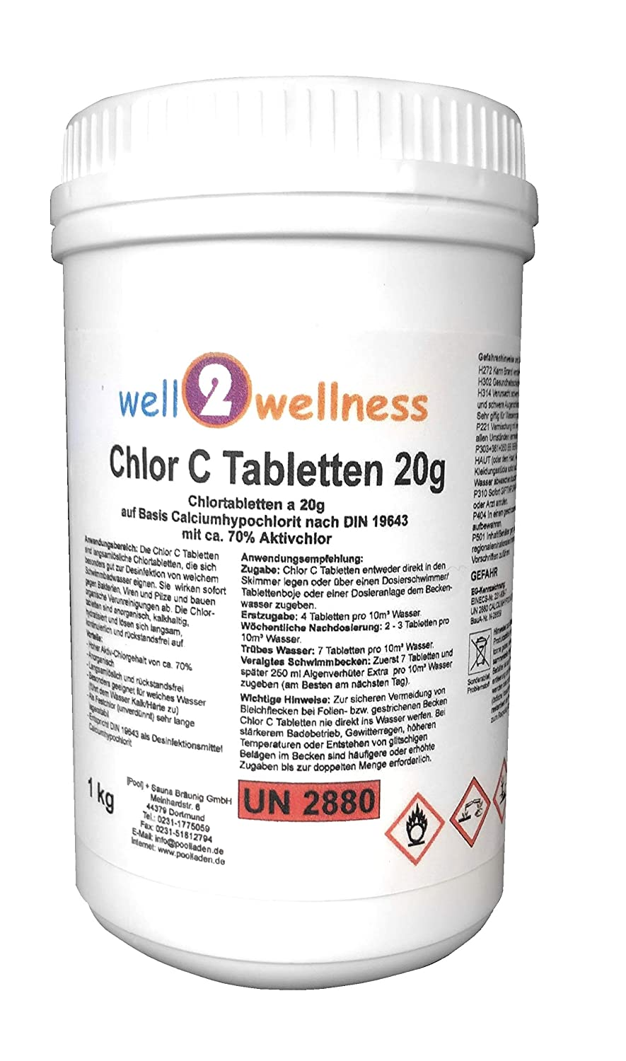 Well2wellness Calciumhypochlorit Chlortabletten Chlor C Tabletten