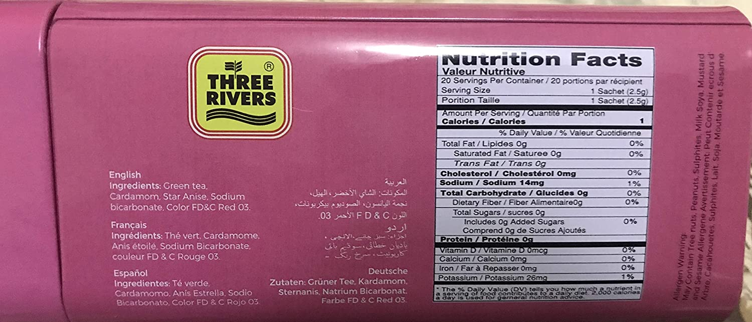 Amazon.com : Three Rivers Instant Kashmiri Pink Tea (20 Tea Bags) : Grocery & Gourmet Food