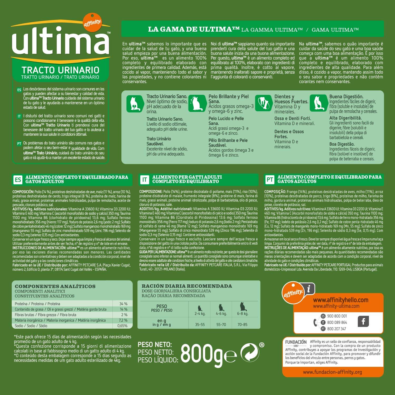 Ultima - Alimento para Gatos, Control Tracto Urinario, Bolsa 800 g: Amazon.es: Productos para mascotas