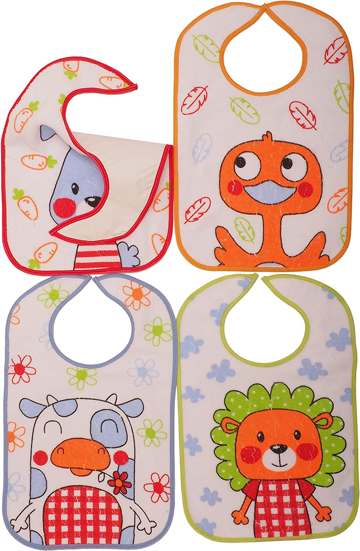 Pack 4 Baberos Impermeables M/ás de 1 A/ño 33x36 cm Estampados con Marcianos TI TIN Cierre El/ástico para bebes de m/ás de 12 Meses