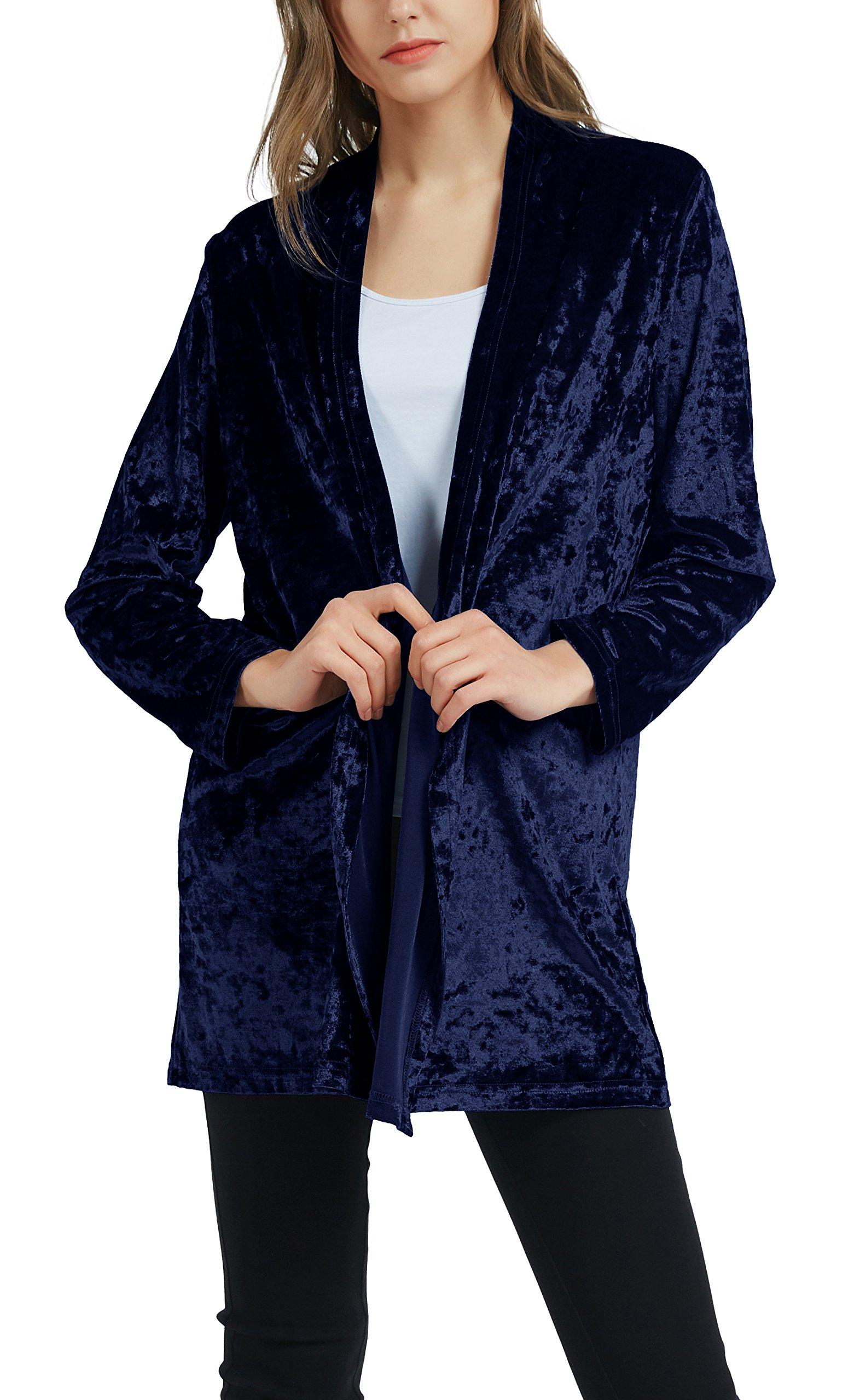 Urban CoCo Women's Velvet Kimono Cardigan Open Front Coat (M, Navy Blue)